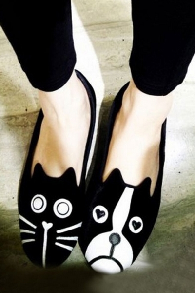 Cute-Dog-And-Cat-Suede-Flats